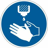 Påbudsskilt Brug håndsprit Ø43cm 0,2mm aftagelig blå