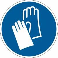 Påbudsskilt Handsker påbudt Ø43cm 0,2mm aftagelig blå