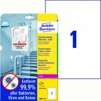 Laseretiket Avery antimicrobiel 210x297mm hvid 1/ark 10ark/pk