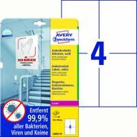 Laseretiket Avery antimicrobiel 105x148mm hvid 4/ark 10ark/pk