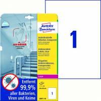 Laseretiket Avery antimicrobiel 210x297mm klar 1/ark 10ark/pk