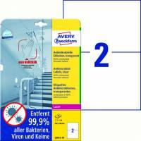 Laseretiket Avery antimicrobiel 210x148mm klar 2/ark 10ark/pk