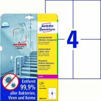 Laseretiket Avery antimicrobiel 105x148mm klar 4/ark 10ark/pk