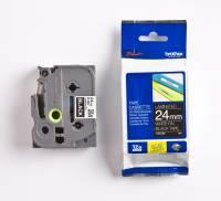 Labeltape Brother TZe355 24mm hvid på sort lamineret
