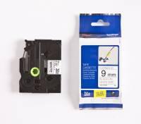 Labeltape Brother TZeFX221 9mm sort på hvid fleksibel