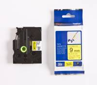 Labeltape Brother TZeFX621 9mm sort på gul fleksibel