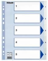 Register PP Esselte A4 1-5 m/hvid kartonforblad