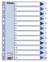 Register PP Esselte A4 1-12 m/hvid kartonforblad