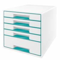 Skuffekabinet Leitz Desk Cube WOW 5-skuffer hvid/isblå