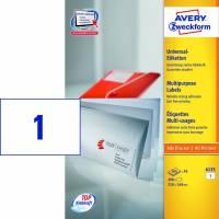 Laseretiket Avery A5 210x148mm 1/ark 200ark/pak 6135