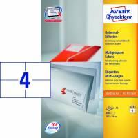 Laseretiket Avery A5 105x74mm 4/ark 200ark/pak 6133