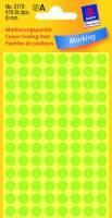 Etiket Avery neon grøn Ø8mm 3179 416stk/pak