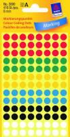 Etiket Avery ass. farver Ø8mm 3090 416stk/pak