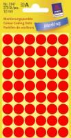 Etiket Avery neon rød Ø12mm 3147 270stk/pak