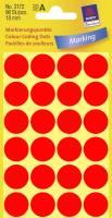 Etiket Avery neon rød Ø18mm 3172 96stk/pak
