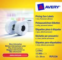 Prisetiketter Avery 1 linje hvid 26x12mm perm.klæb 10x1500stk