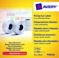 Prisetiketter Avery 2 linjer hvid 26x16mm aftagelig 10x1200stk