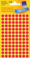 Etiket Avery rød Ø8mm 416stk/pak 32301