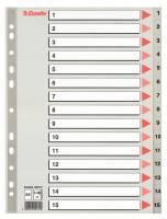 Plastregister Esselte A4 grå 1-15 m/forblad