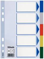 Faneblade Esselte A5 5-delt i plast m/forblad