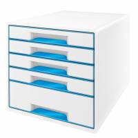 Skuffekabinet Leitz Desk Cube WOW 5-skuffer hvid/blå