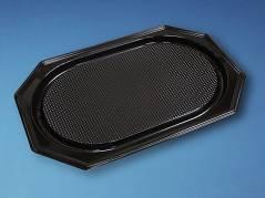 Cateringfad sort plast 55x36cm oval 10x10stk/kar A-PET stor