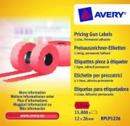 Prisetiketter Avery 26x12mm perm.klæb rød 1 linje