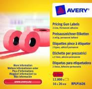 Prisetiketter Avery 26x16mm perm.klæb rød 2 linjer