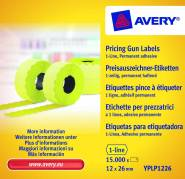 Prisetiketter Avery 26x12mm perm.klæb gul 1 linje