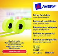 Prisetiketter Avery 26x16mm perm.klæb gul 2 liner