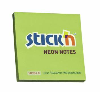 Notes Stick'N NEON grøn 76x76mm 100blade