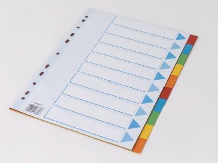 Faneblad Q-Line A4 10-delt karton m/kartonforblad