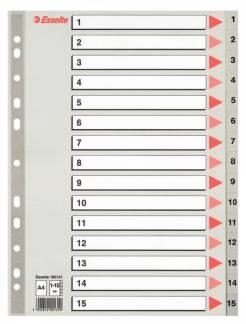 Plastregister Esselte A4 grå 1-15 m forblad 4c3054f7afc73