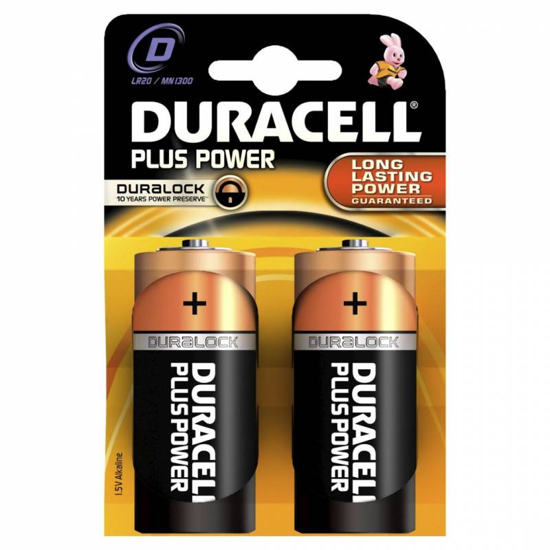 Image of   Batteri Duracell Plus Power D 2stk/pak