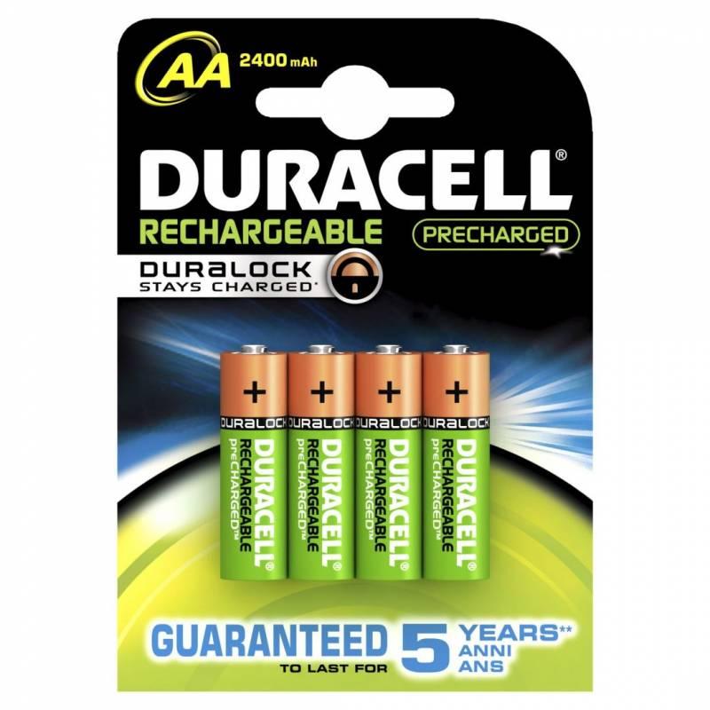 Image of   Batteri Duracell genopladelig AA 2400mAh 4stk/pak
