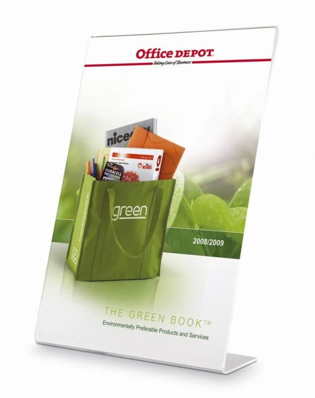 Billede af Brochureholder Office DEPOT A5 klar L-form t/bord skrå