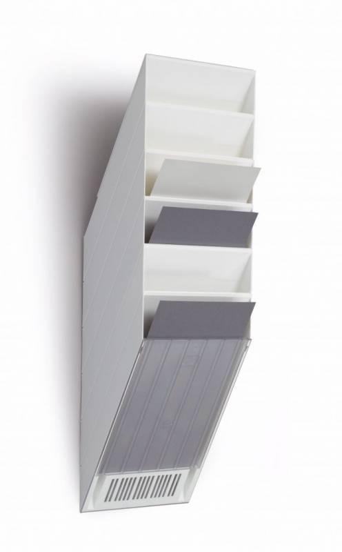 Billede af Brochureholder Flexiboxx A4 hvid 6 fag stående t/væg