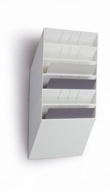 Billede af Brochureholder Flexiboxx A4 hvid 6 fag liggende t/væg