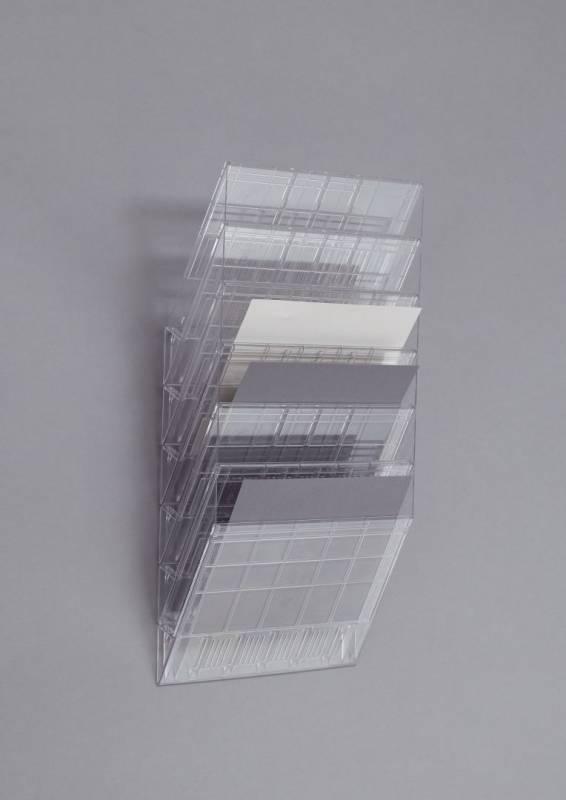 Billede af Brochureholder Flexiboxx A4 klar 6 fag liggende t/væg