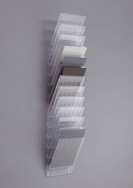 Billede af Brochureholder Flexiboxx A4 klar 12 fag stående t/væg