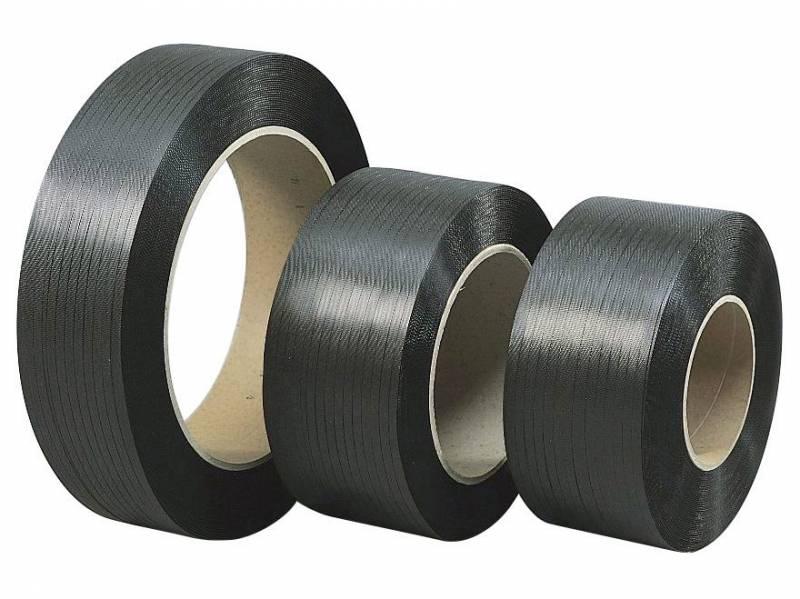 Strapbånd PP sort 12x0,63mm ø200mm 2700m 148kg træk