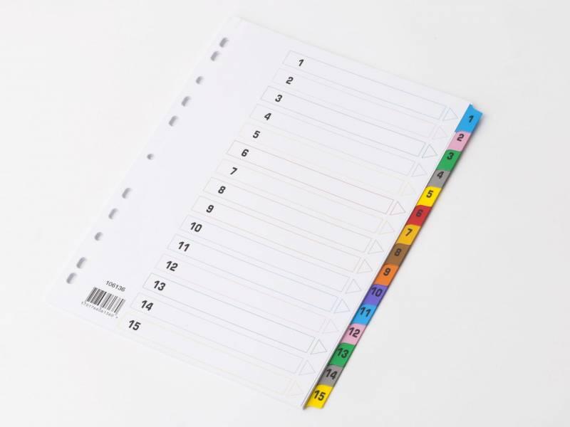 Billede af Register mylar A4 1-15 farvet forstærket m/forblad