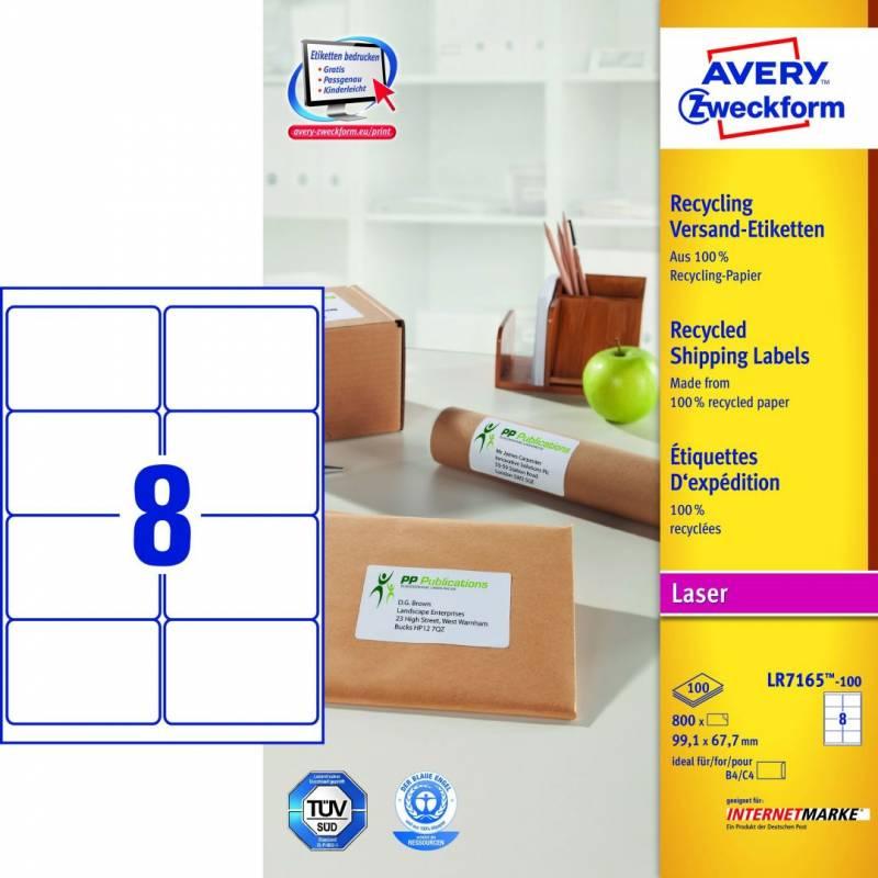 Image of   Laseretiket Avery 99,1x67,7 mm 8/ark 100ark/pak LR7165