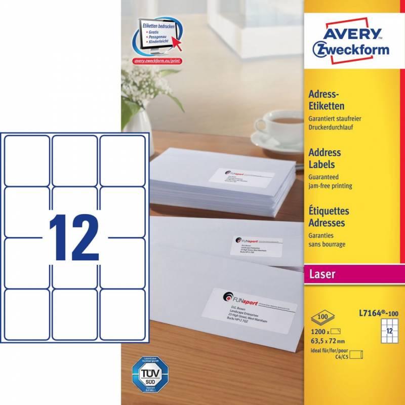 Image of   Laseretiket Avery 63,5x72mm 12/ark 100ark/pak L7164