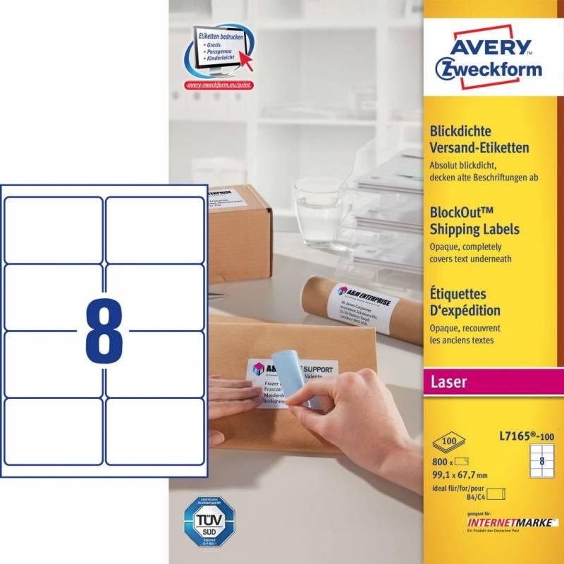 Image of   Laseretiket Avery 99,1x67,7mm 8/ark 100ark/pak L7165