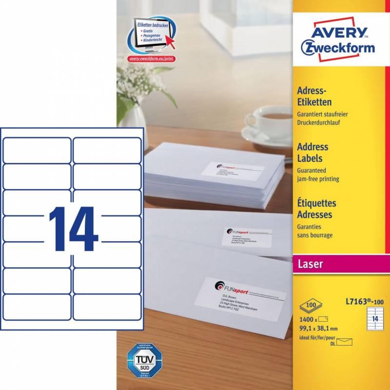 Image of   Laseretiket Avery 99,1x38,1mm 14/ark 100ark/pak L7163