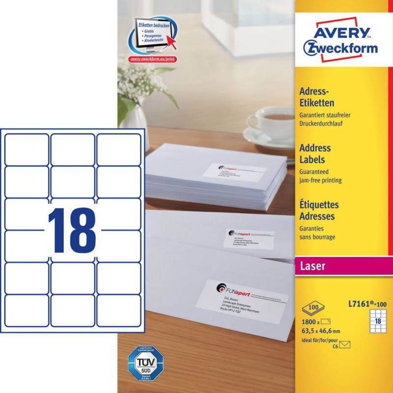 Image of   Laseretiket Avery 63,5x46,6mm 18/ark 100ark/pak L7161