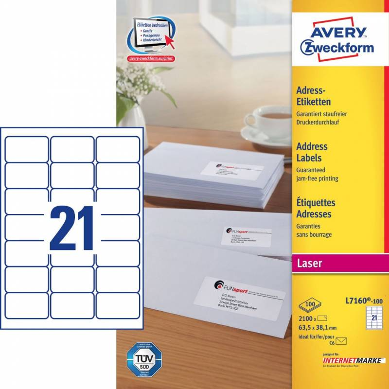 Image of   Laseretiket Avery 63,5x38,1mm 21/ark 100ark/pak L7160