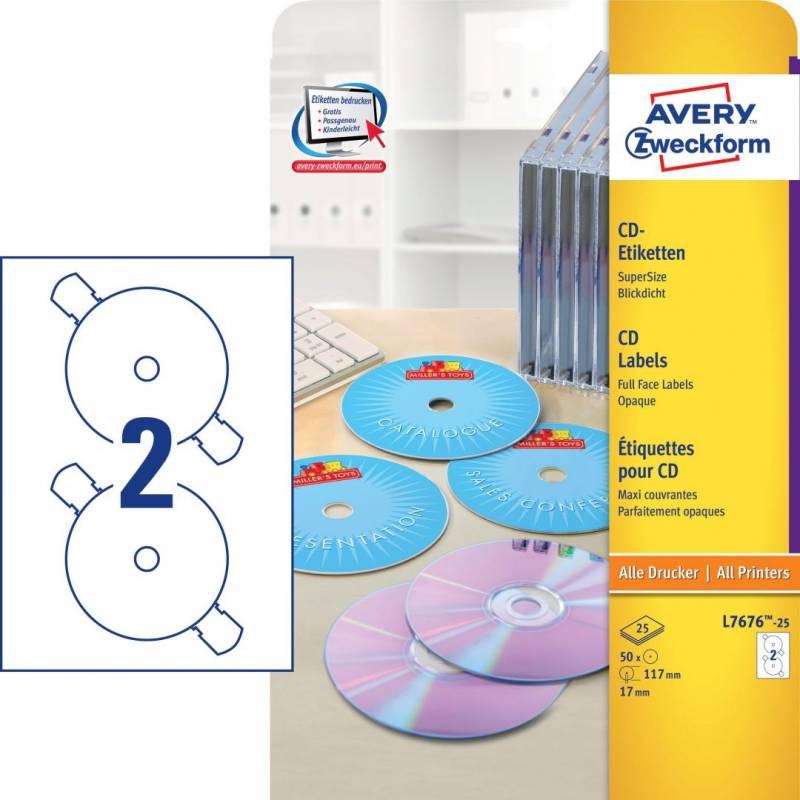 Image of   CD labels Avery laser Ø117mm 2stk/ark 25ark/pak L7676