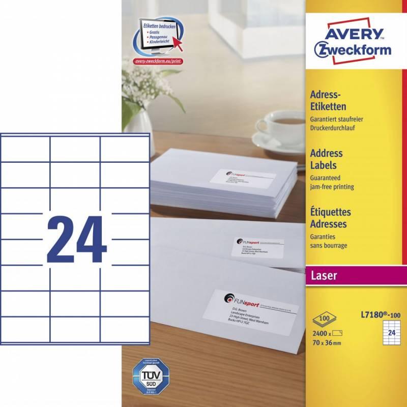 Image of   Laseretiket Avery 70x36mm 24/ark 100ark/pak L7180